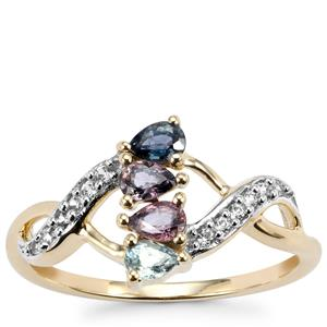 Tunduru Color Change Sapphire Ring with White Zircon in 10k Gold 0.59ct