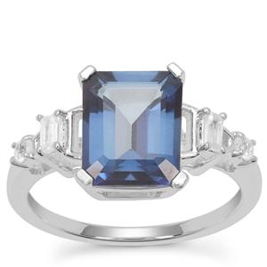 Hope Topaz Ring with White Zircon in Sterling Silver 4.14cts