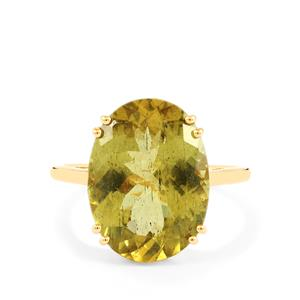 Ilakaka Natural Green Apatite Ring in 10k Gold 8.18cts