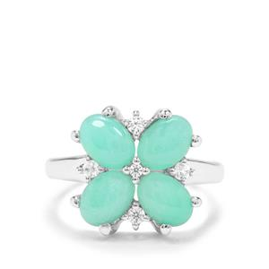 Prase Green Opal & White Zircon Sterling Silver Ring ATGW 2.90cts