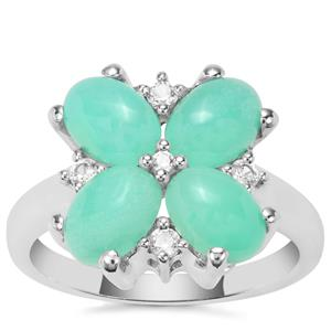 Prase Green Opal Ring with White Zircon in Sterling Silver 2.90cts