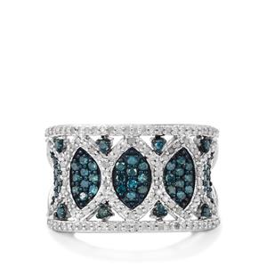 1ct Blue & White Diamond Sterling Silver Ring