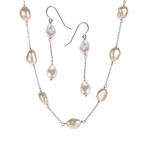 Kaori Cultured Pearl Sterling Silver Set of Necklace & Earrings (7x10mm)