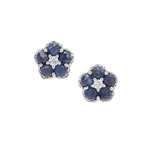 Rose Cut Bharat Blue Sapphire Earrings with White Zircon in Sterling Silver 4.09cts