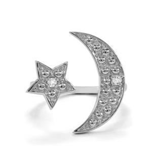 0.08ct White Topaz Sterling Silver Star & Moon Ring