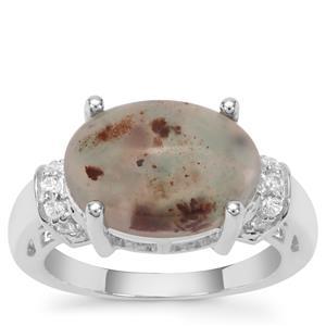 Aquaprase™ & White Zircon Sterling Silver Ring ATGW 5.10cts