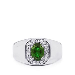 Chrome Diopside Ring with White Topaz in Sterling Silver 1.70cts