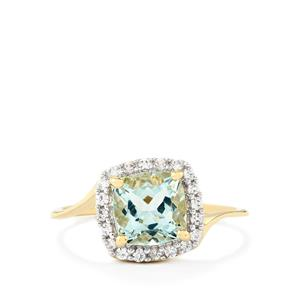 Espirito Santo Aquamarine & White Zircon 9K Gold Ring ATGW 1.52cts