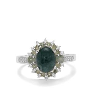 Grandidierite, Alexandrite Ring with White Zircon in Sterling Silver 2.60cts