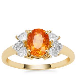 Mandarin Garnet Ring with White Zircon in 9K Gold 2.93cts