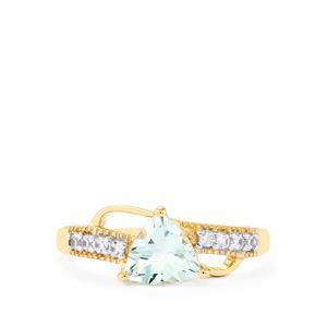 Pedra Azul Aquamarine & White Zircon 10K Gold Ring ATGW 1.09cts