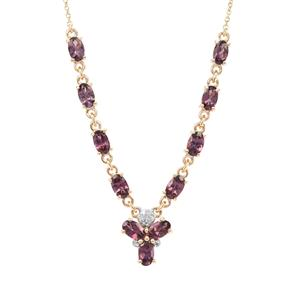 Mahenge Purple Spinel Necklace with Diamond in 9K Gold 3.07cts