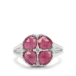 Rose Cut Malagasy Ruby & White Zircon Sterling Silver Ring ATGW 3.05cts (F)