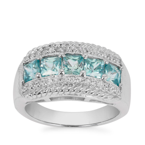 Ratanakiri Blue Zircon Ring with White Zircon in Sterling Silver 2.73cts