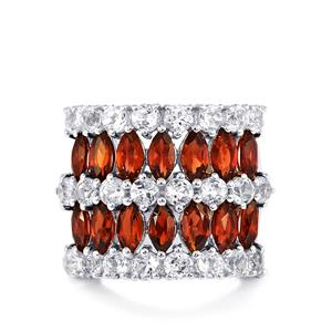 Mozambique Garnet Ring with White Topaz in Sterling Silver 7.49cts