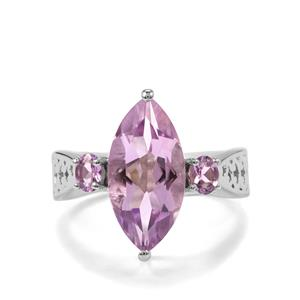 Rose De France Amethyst Ring in Sterling Silver 4.36cts