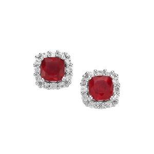 Malagasy Ruby Hollywood Earrings with White Zircon in Sterling Silver 1.56cts (F)