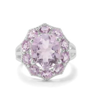 6.80ct Rose De France Amethyst Sterling Silver Ring
