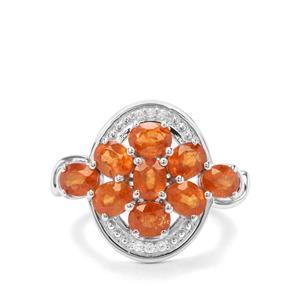 Mandarin Garnet & White Zircon Sterling Silver Ring ATGW 4.86cts