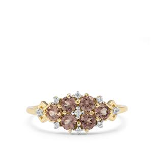 Bekily Colour Change Garnet & White Zircon 9K Gold Ring ATGW 1.07cts