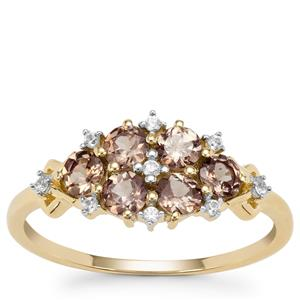 Bekily Colour Change Garnet Ring with White Zircon in 9K Gold 1.07cts