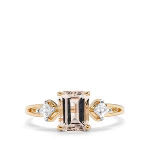 Alto Ligonha Morganite Ring with White Zircon in 10k Gold 1.68cts
