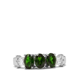 Chrome Diopside & White Zircon Sterling Silver Ring ATGW 1.71cts