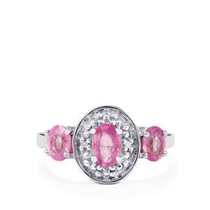 Ilakaka Hot Pink Sapphire & Diamond Sterling Silver Ring ATGW 1.76cts (F)