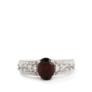 Rhodolite Garnet & White Topaz Sterling Silver Ring ATGW 1.95cts