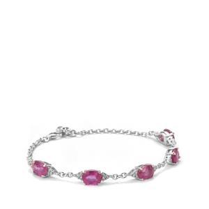Ilakaka Hot Pink Sapphire & White Topaz Sterling Silver Bracelet ATGW 9.55cts (F)