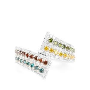 1ct Multi Colour Diamond 9K White Gold Ring