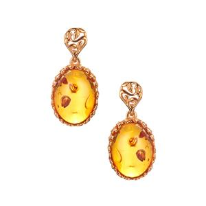 Baltic Cognac Amber Earrings  in Gold Tone Sterling Silver (16x12mm)