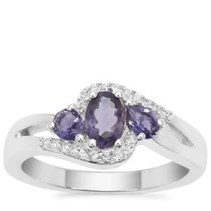 Bengal Iolite Ring with White Zircon Sterling Silver 0.75ct