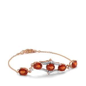 Mandarin Garnet Bracelet with Diamond in 18K Rose Gold 9.40cts