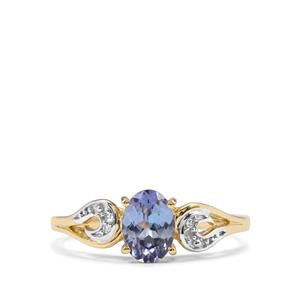 Bi Colour Tanzanite & Diamond 10K Gold Ring ATGW 0.92cts