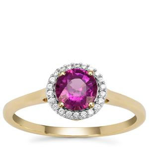 Comeria Garnet Ring with White Zircon in 9K Gold 1.07cts