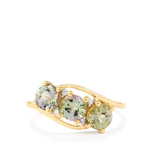 Bi Colour Tanzanite Ring with Diamond in 9K Gold 1.77cts