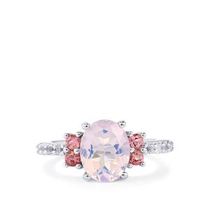 Rio Grande Lavender Quartz, Pink Tourmaline Ring with White Topaz in Sterling Silver 2.88cts