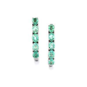 Zambian Emerald Earrings in Platinum Plated Sterling Silver 1.53cts
