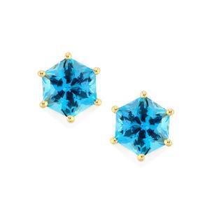 Swiss Blue Topaz Polaris Earrings in 10k Gold 4.36cts