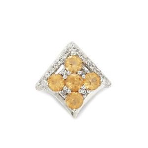 Ceylon Imperial Garnet & White Topaz Sterling Silver Pendant ATGW 1.80cts