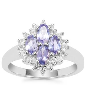 AA Tanzanite Ring with White Topaz in Sterling Silver 1.40cts