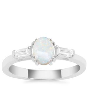 Coober Pedy Opal Ring with White Zircon in Sterling Silver 0.76ct
