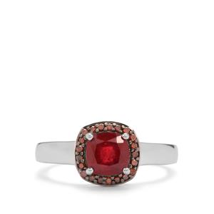 Malagasy Ruby Ring with Red Diamond in Sterling Silver 1.58cts (F)