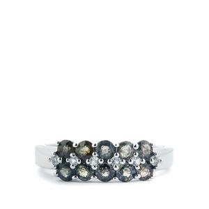 Tunduru Colour Change Sapphire Ring with White Topaz in Sterling Silver 1.47cts