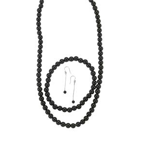 170ct Black Onyx Sterling Silver Bead Set of Necklace, Stretchable Bracelet & Earrings