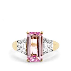Mawi Kunzite Ring with Diamond in 18k Gold 3.97cts