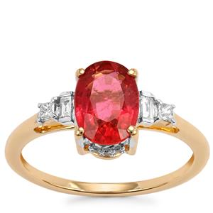 Nigerian Rubellite Ring with Diamond in 18K Gold 1.58cts