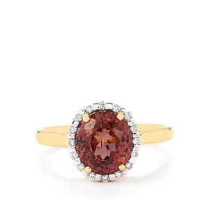 Colour Change Garnet & Diamond 18K Gold Tomas Rae Ring MTGW 3.57cts