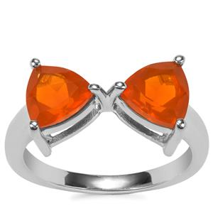 Orange American Fire Opal Ring in Sterling Silver 1.68cts